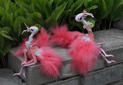Розовый фламинго. Новая коллекционная игрушка от Юлии Берг